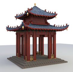 Chinese style leisure pavilion 3d model download