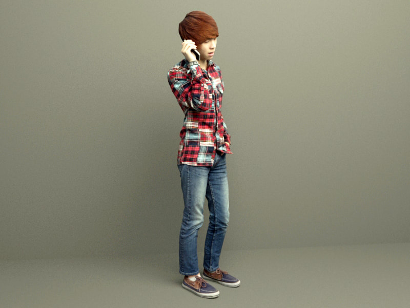 3d model Korean style boy for free download without any registered