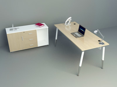 one series office desk and low cabinet 3d models