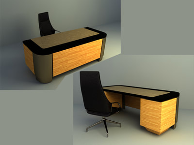 manager office table and chair 3d models