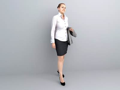 human 3d models free - office lady