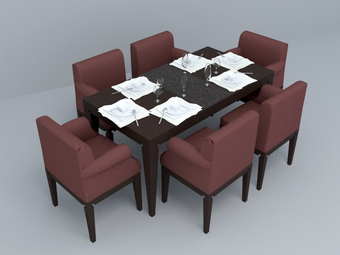 3d model dining set design