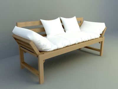 wooden seat sofa