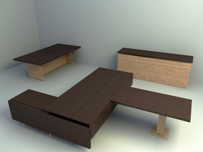 once series office table and low cabinet design 3d models