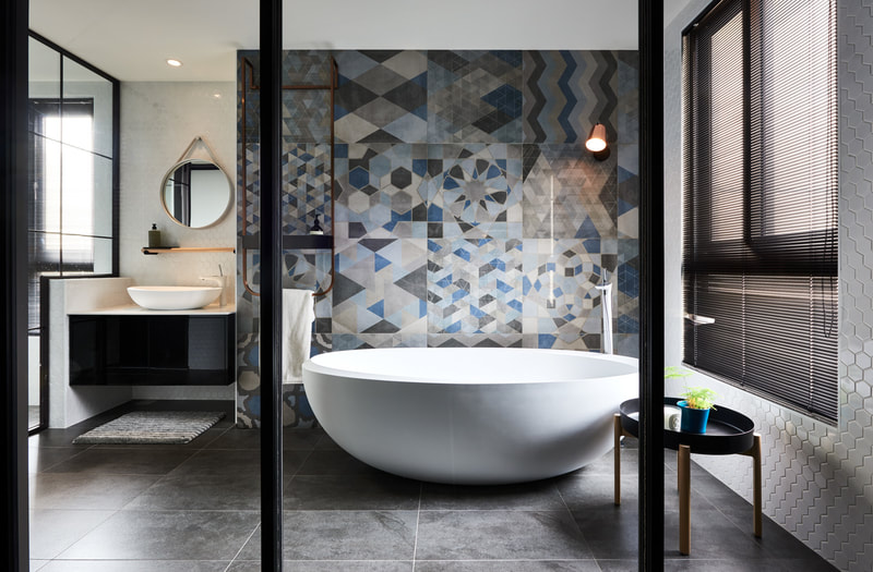 bathroom with abstract & retro concept design
