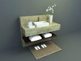 bathroom accessories 3d model free download - sink with stone cabinet 001