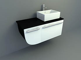 bathroom interior 3d model - Modern style sink with cabinet 002
