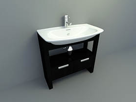 bathroom interior 3d model - sink with cabinet 004