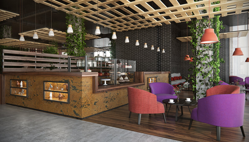 "cafe design with "" garden ""  concept style (B view) on all3dfree"