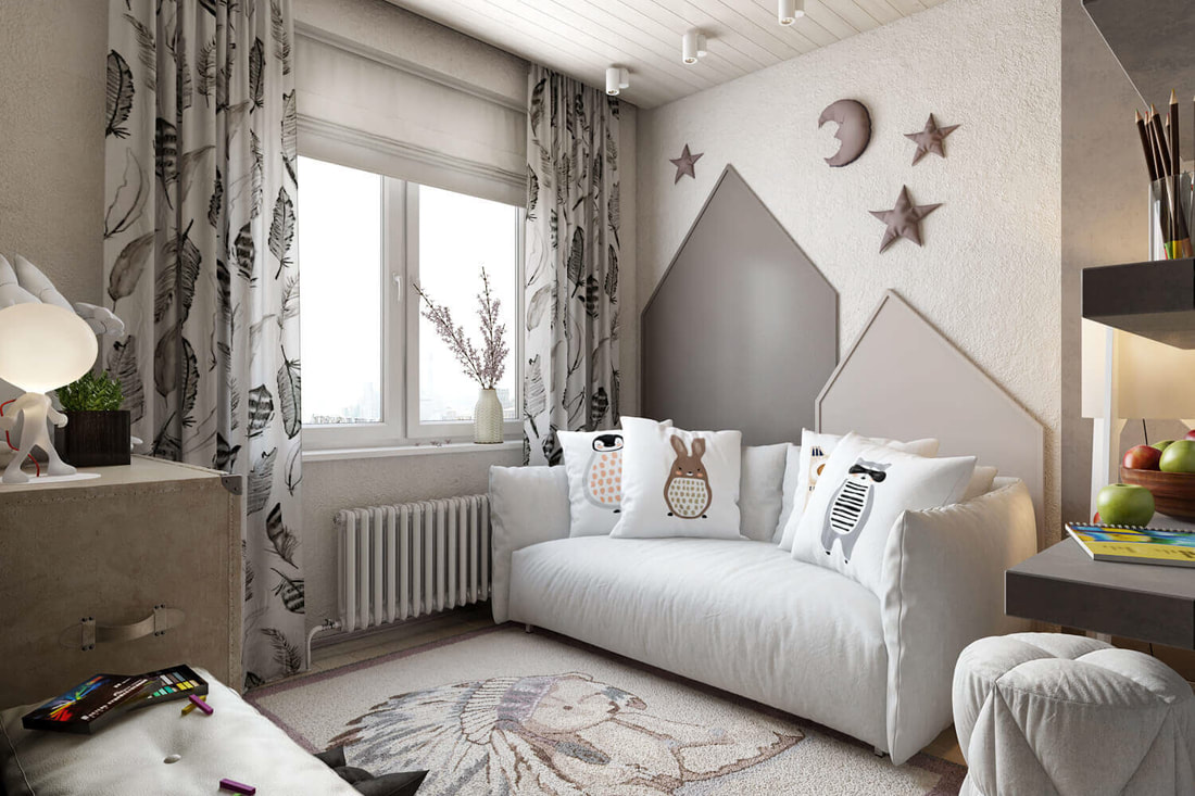 kids bedroom with galaxy concept design on all3dfree A view