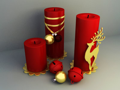 christmas decoration 3d model free download - Candle decoration 002