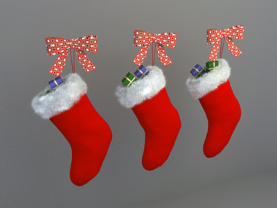christmas decoration 3d model free download - Christmas sock 004