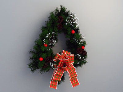 christmas decoration 3d model free download - wreath decoration 007