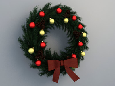 christmas decoration 3d model free download - wreath decoration 008