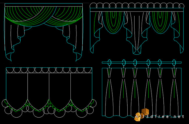 curtain cad blocks - Swags and Valances 2