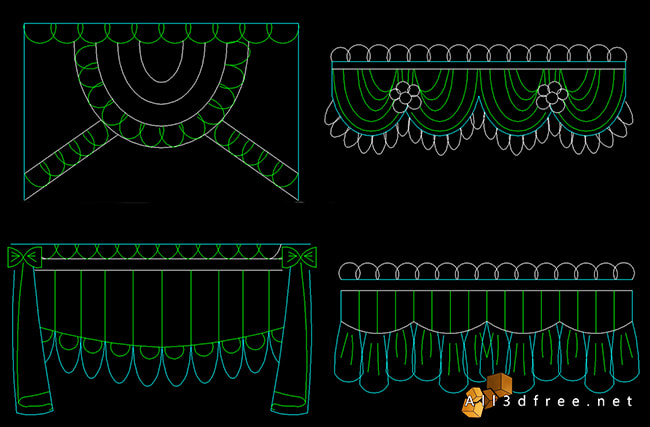 curtain cad blocks - Swags and Valances 3