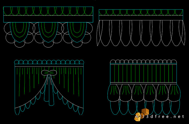 curtain cad blocks - Swags and Valances 5
