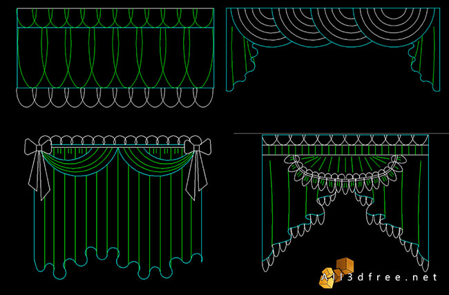 curtain cad blocks - swags and valances 6