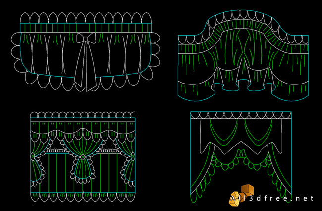 curtain cad blocks - swags and valances 7