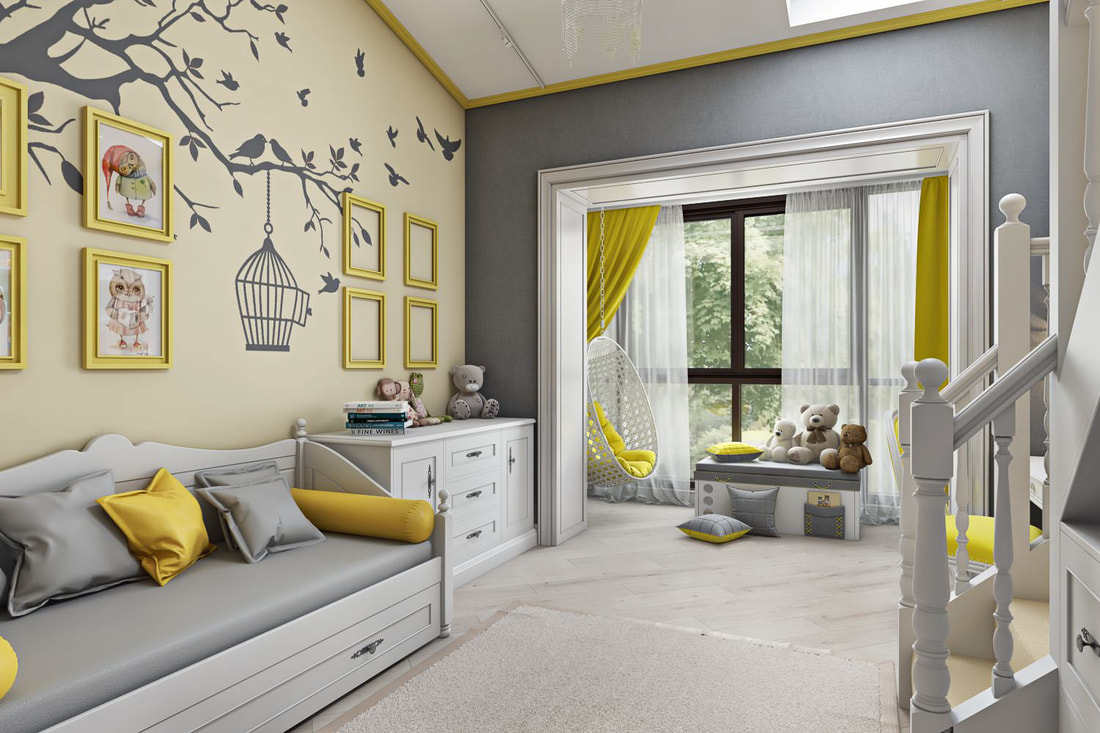 kid room with childlike design A view