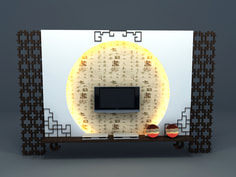 tv wall panel with chinese culture design