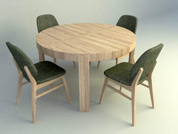 3d model wooden dining set with cushion chair