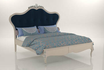3d model french king bed with blue cushion design 2019