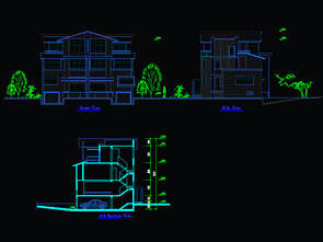 Bungalow Elevation & Section Plan Blocks free download