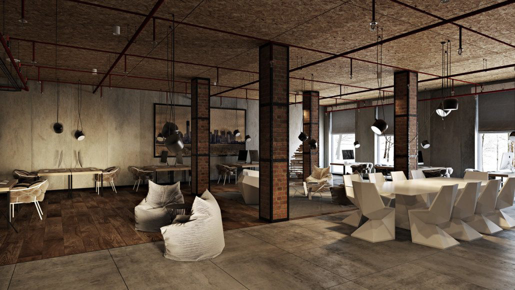 Industrial concept office space design A view