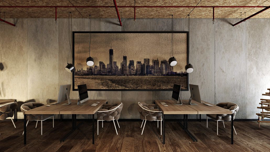 Industrial concept office space design B view