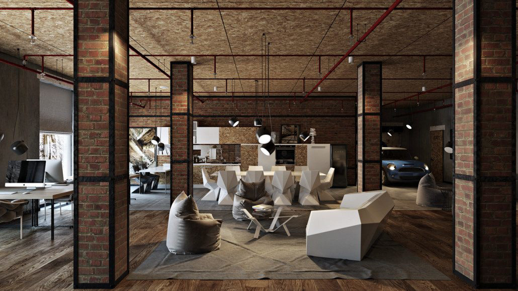 Industrial concept office space design C view