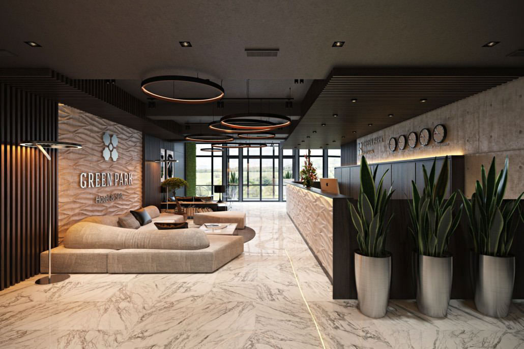 hotel reception with natural garden concept design on all3dfree