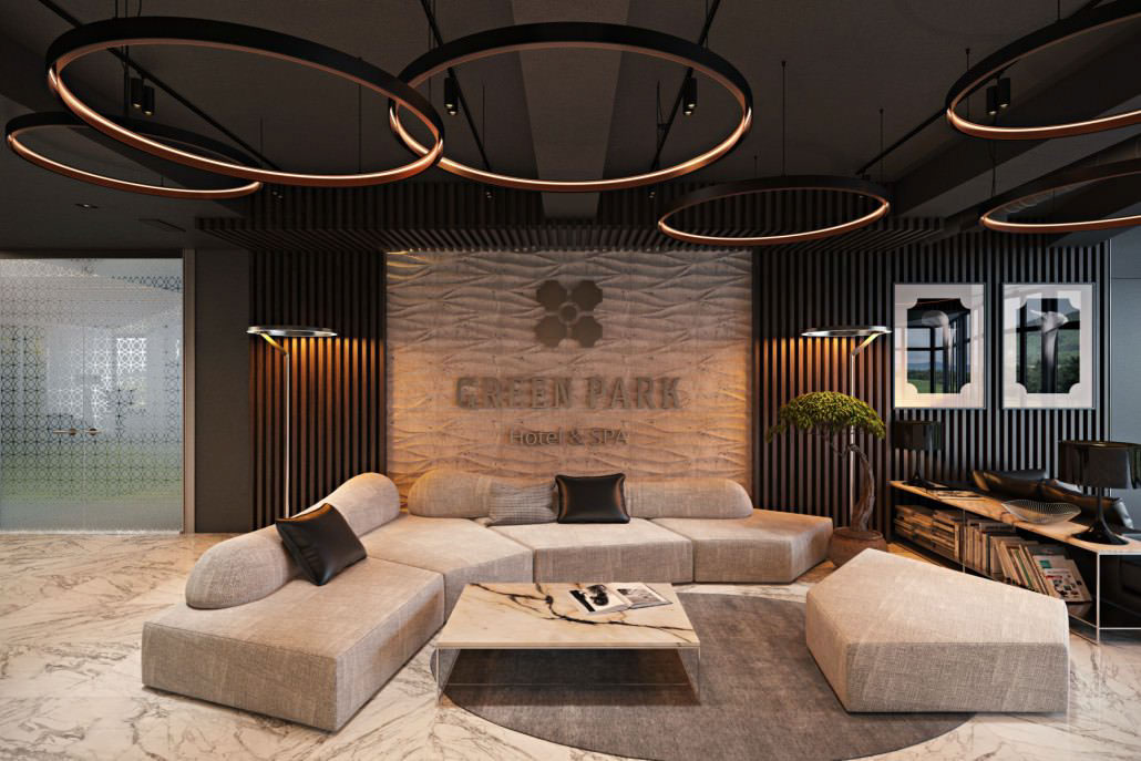 hotel reception with natural garden concept design on all3dfree B view