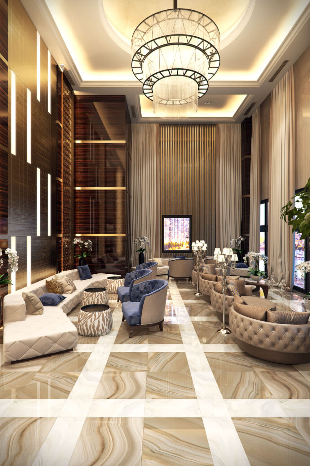 hotel lobby with modern look concept B view on all3dfree