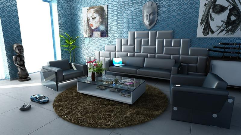 """art & abstract"" style living area design on all3dfree"