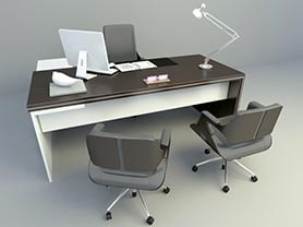 office chair 3d model free download - Office Desk and chairs 003