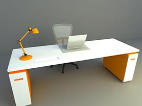 office chair 3d model free download - Office table​ and chair 012