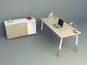 office table 3d model - Office Desk with furnishing 001