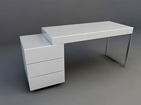office table 3d model - Simple office desk 009