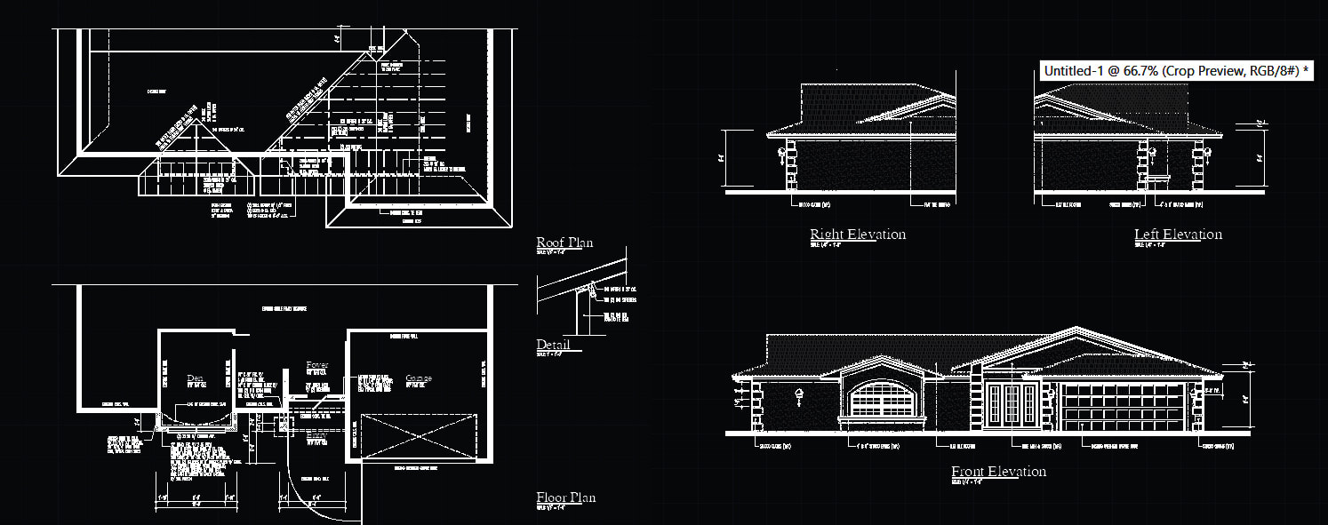 autocad blocks Layout, Roof & Elevation Plan (Bungalow)