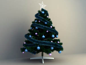 christmas tree blue color display