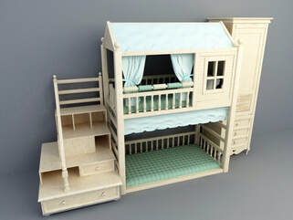 kids double bed with campaign concept design