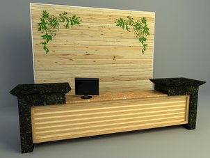 Wooden reception design 3d model