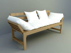 3 people wooden simple sofa design download