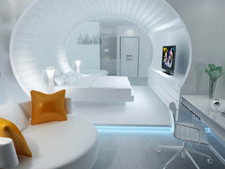 3d models scene hotel room Space capsule concept design 2018