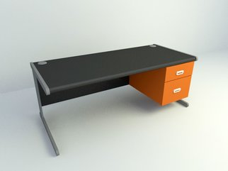 Black office desk design
