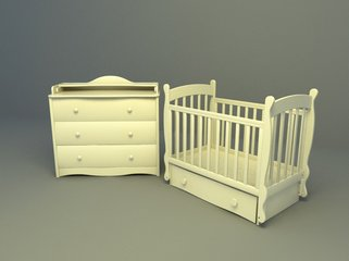 baby bed with drawer 3d model