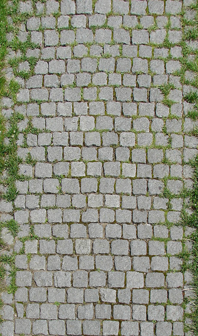 Stone floor texture seamless - Ground with grass 011